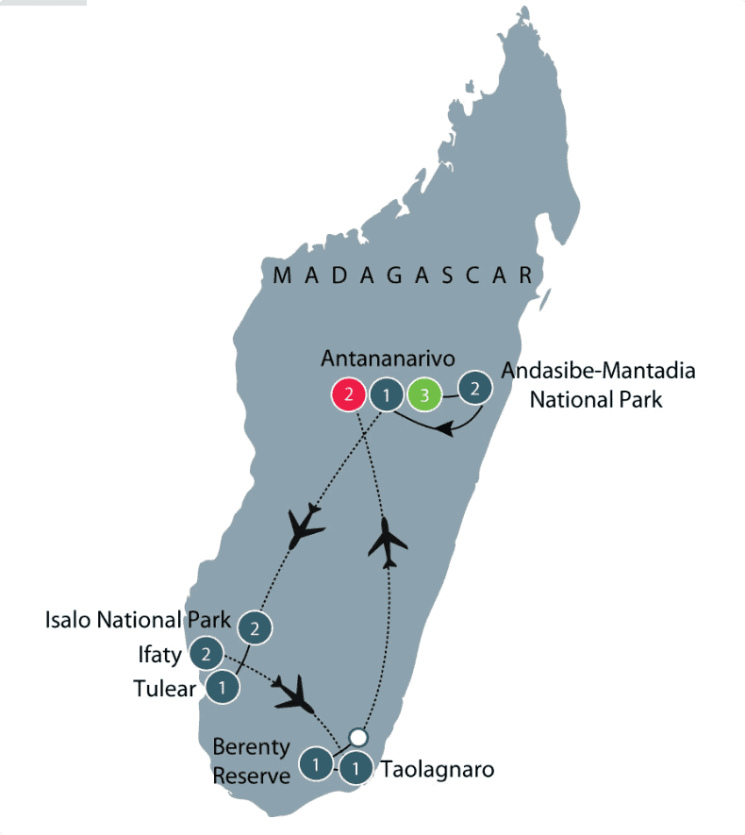 Madagascar Small Group Tour   The island of Lemurs & Avenue of Baobabs itinerary