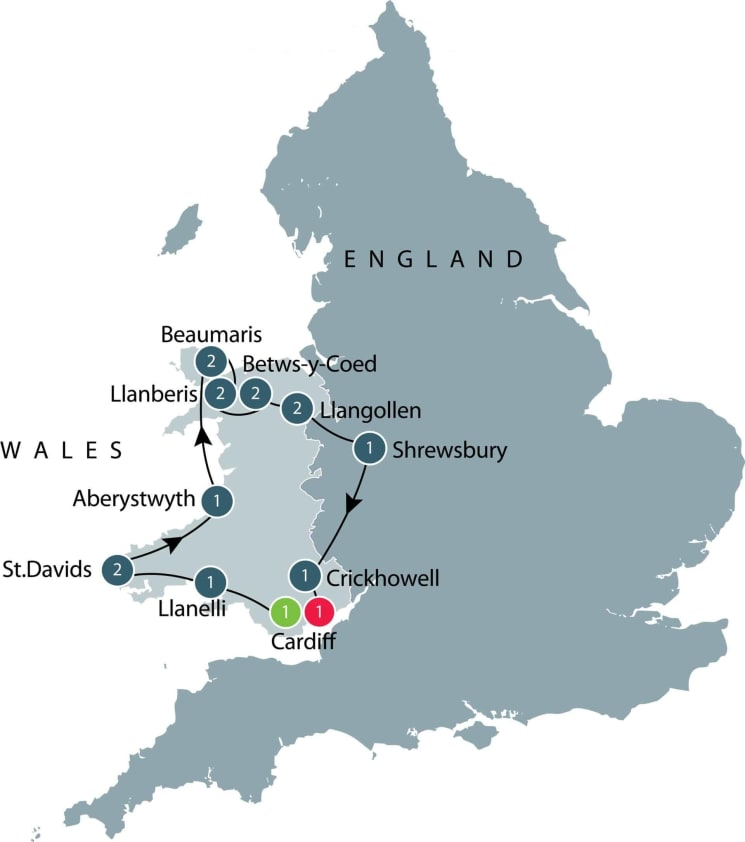 Tour of Wales itinerary