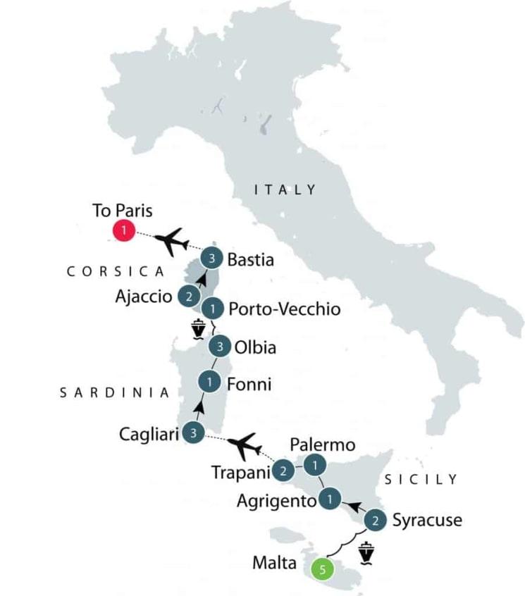 Mediterranean Islands Small Group Tour | Malta, Sicily, Sardinia and Corsica itinerary