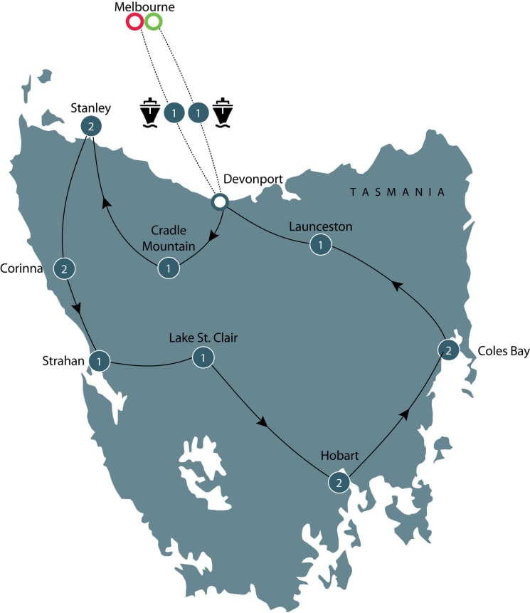 Motorcycle tour of Tasmania for mature riders itinerary