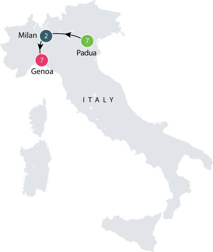 Small group tour to Venice and Genoa itinerary
