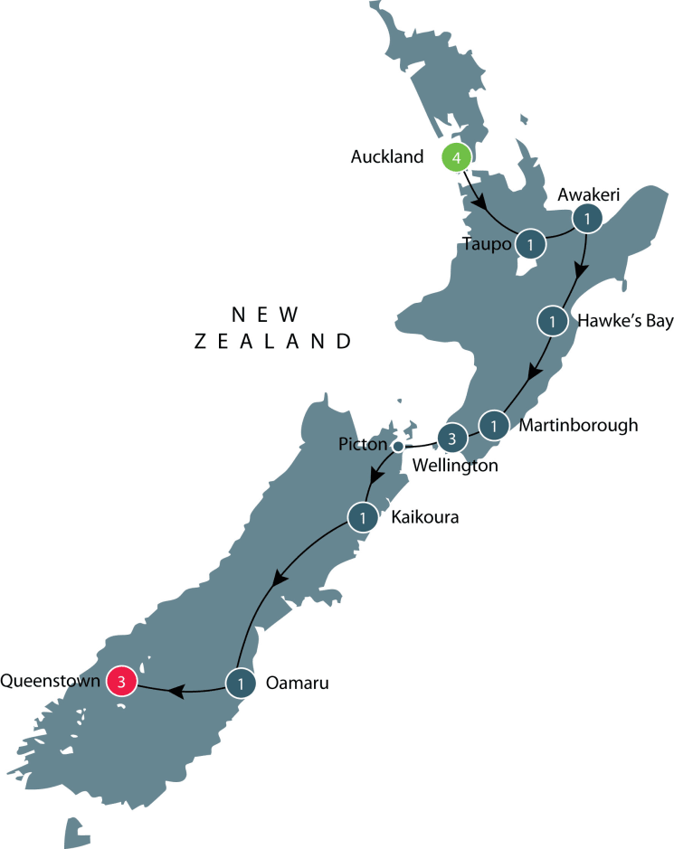 Small group tour of New Zealand exploring Wine, Food and Landscapes itinerary