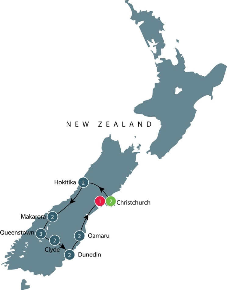 Small group tour of New Zealand's South Island itinerary
