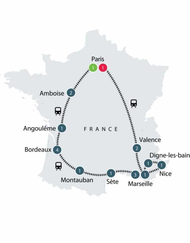 Paris-Bordeaux-Provence By Train itinerary