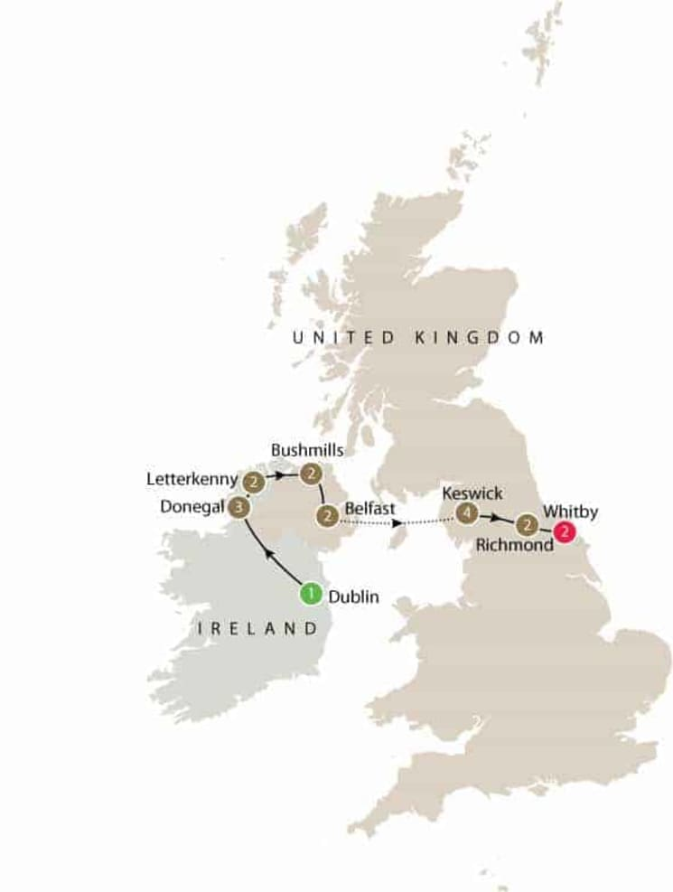 Ireland and Lake District walking small group tour itinerary