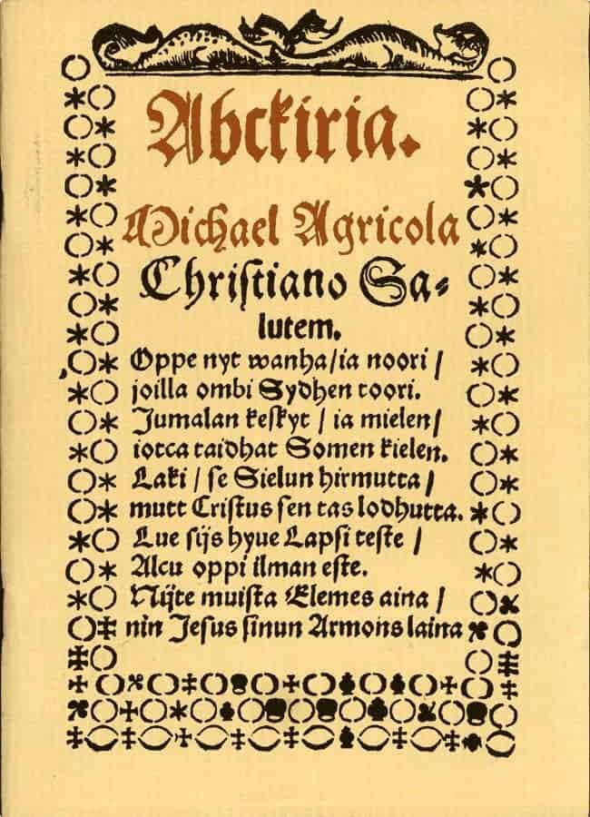 The first Finnish alphabet, developed by Mikael Agricola in 1543.