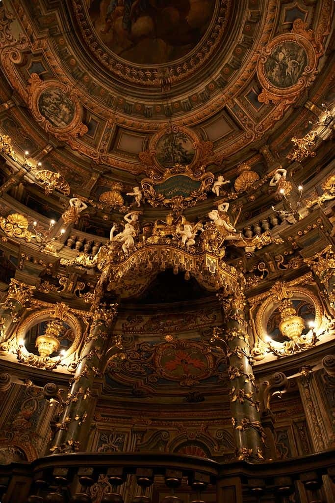 Inside the Margravial Opera House in Bayreuth, Germany