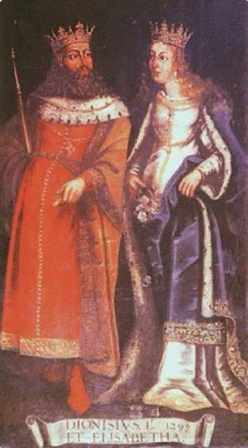 King Dinis I and his wife, Elizabeth of Aragon (also known as Isabel)
