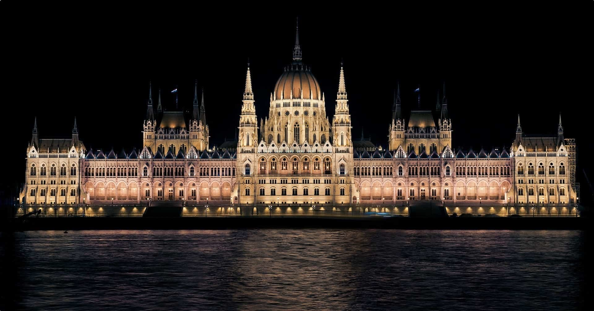 The Parliament building at night