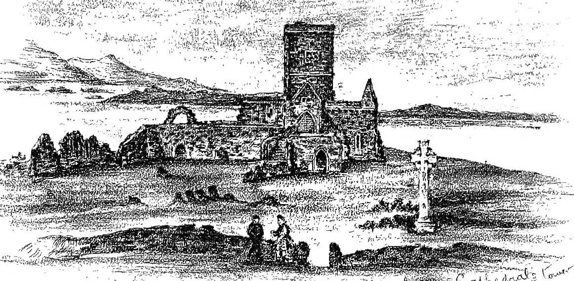 A drawing of Iona Abbey from around 1890