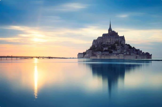 Mont-Saint-Michel at sunset, France,