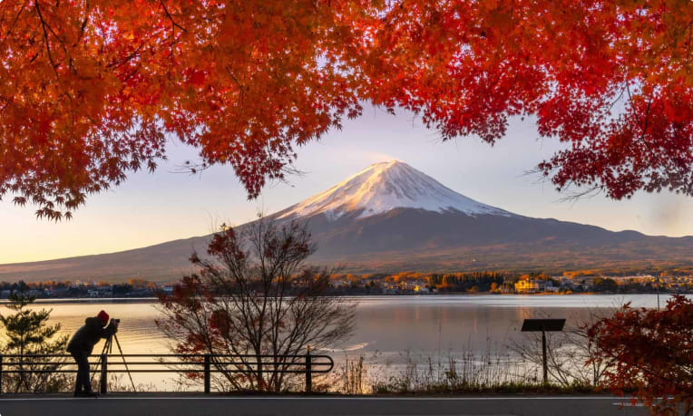 Mt Fuji in Autumn Japan
