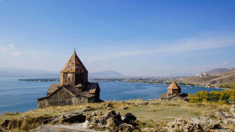 Lake Sevan with the monastery in the foreground