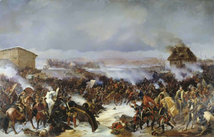 Depiction of Swedish victory over Russia at Narva, Finland, during the Great Northern War.