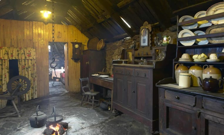 Traditional Scottish home interior with peat fire