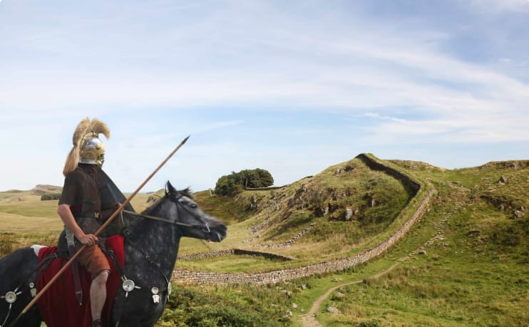 Roman standing guard over Hadrian's wall