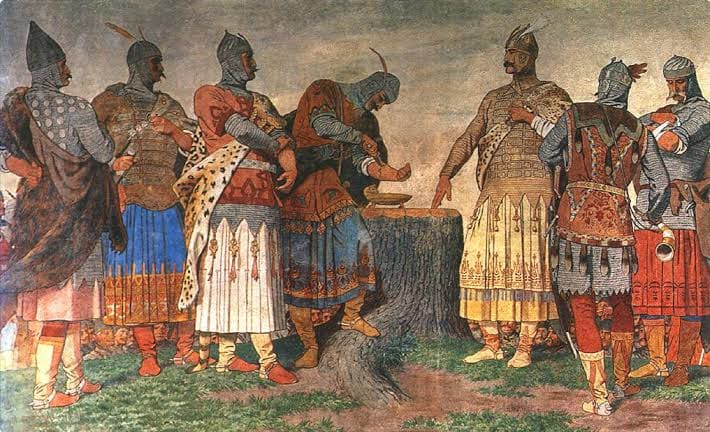 A painting of Magyar tribes