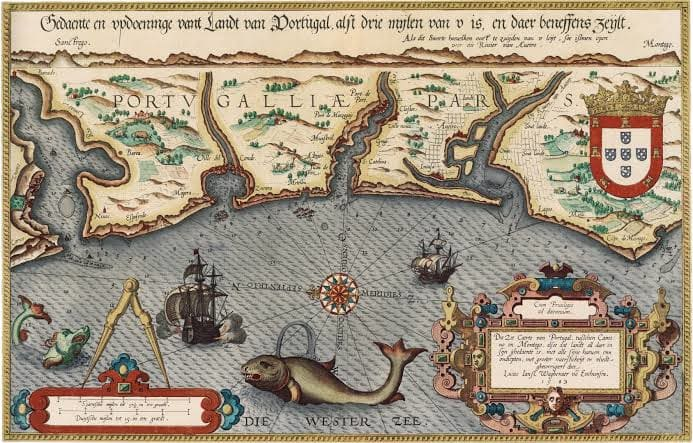A sea map of Portugal dated 1584