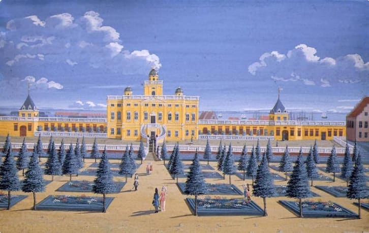 A 1740 painting of Sophie Amalienborg before it burned down
