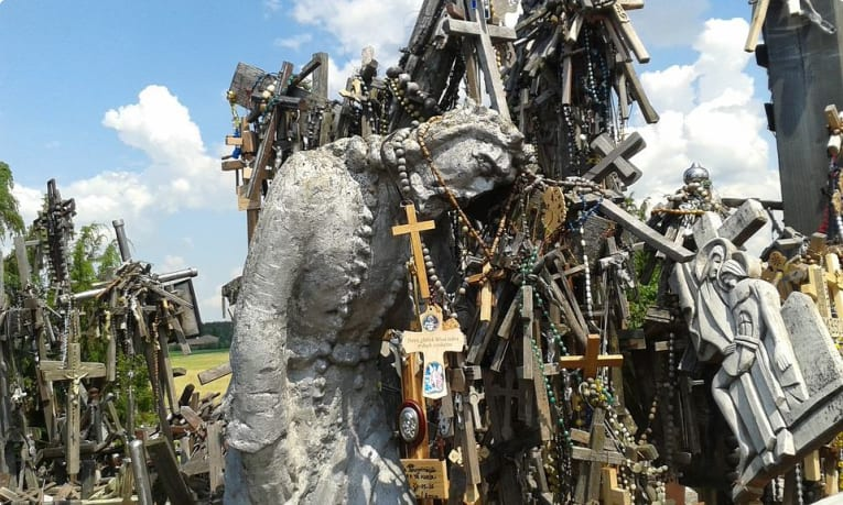A statue of Christ at the Hill of Crosses