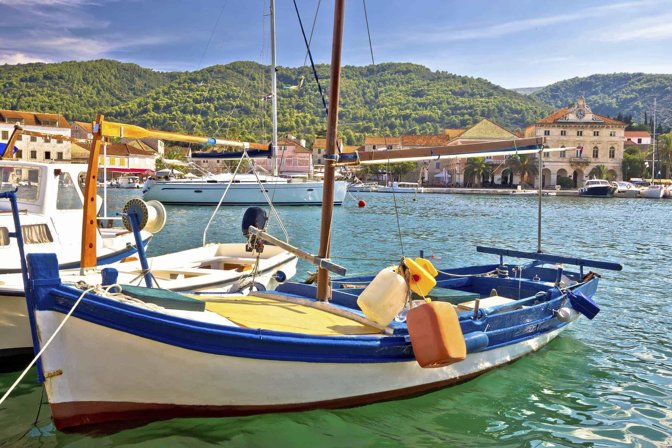 Fishermen's harbour in Stari Grad, Island of Hvar, Dalmatia, Croatia