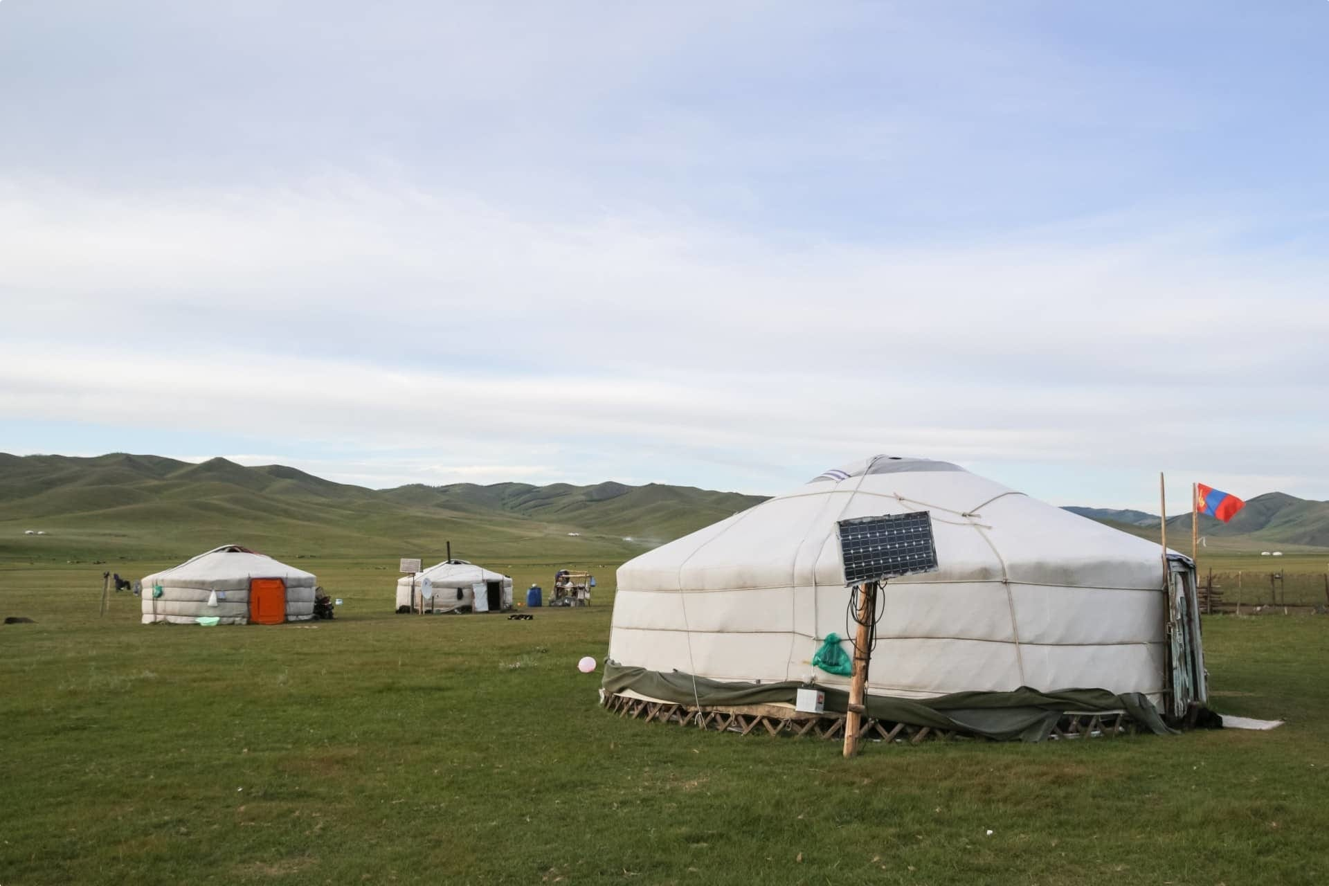 Yurt tents in Mongolia steppes