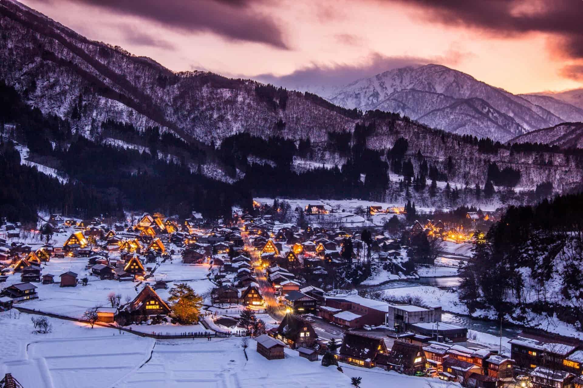 Shirakawago Village in Winter Japan