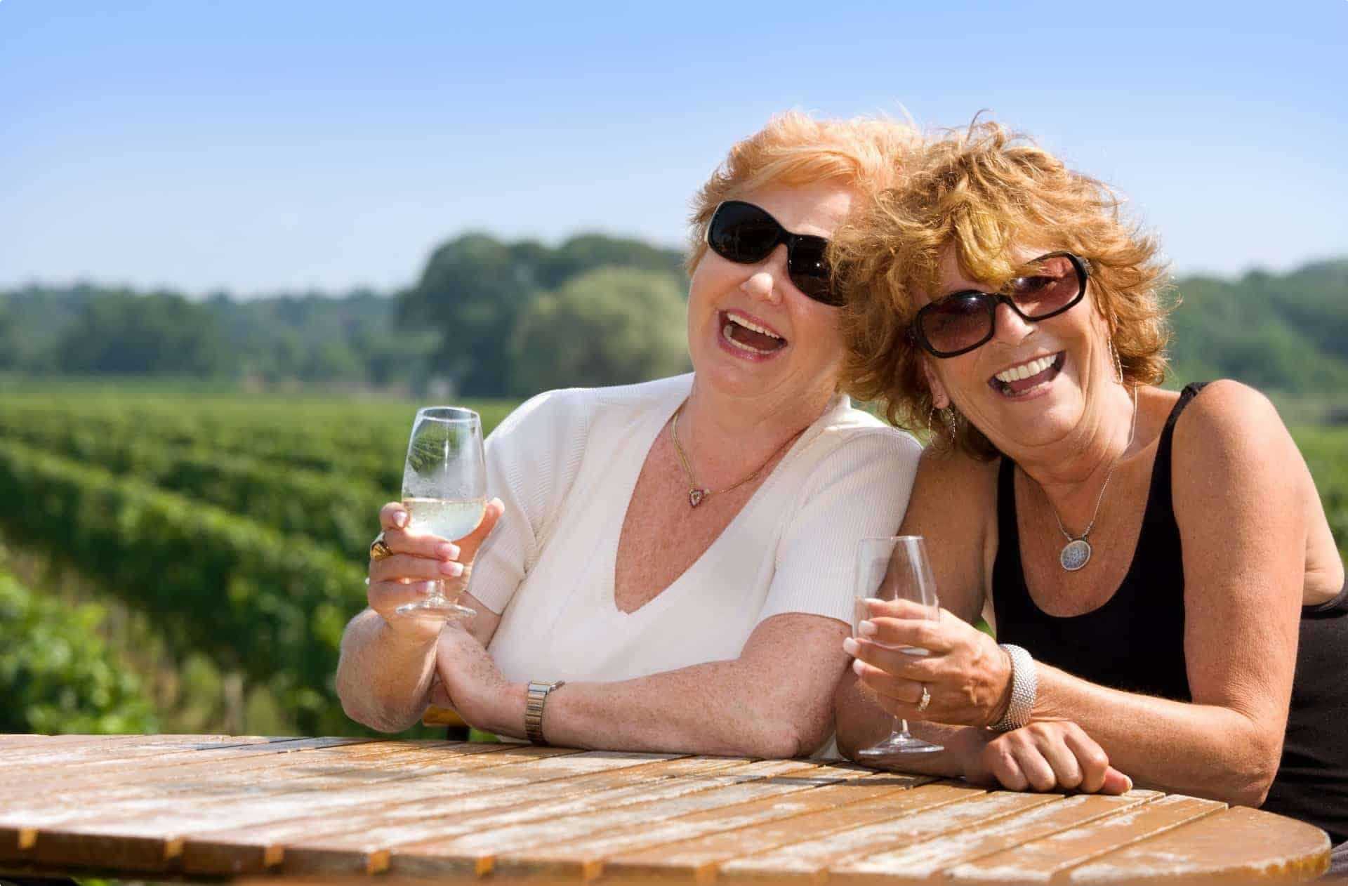 Friends celebrating with wine