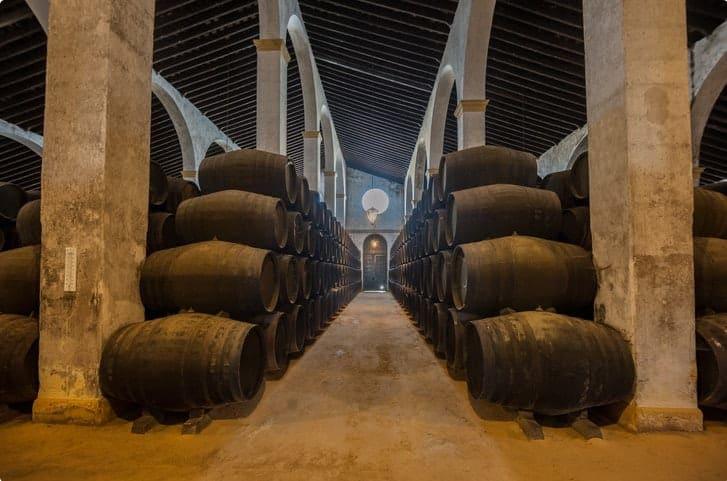 Sherry barrels line a walkway in a bodega in Jerez, Spain