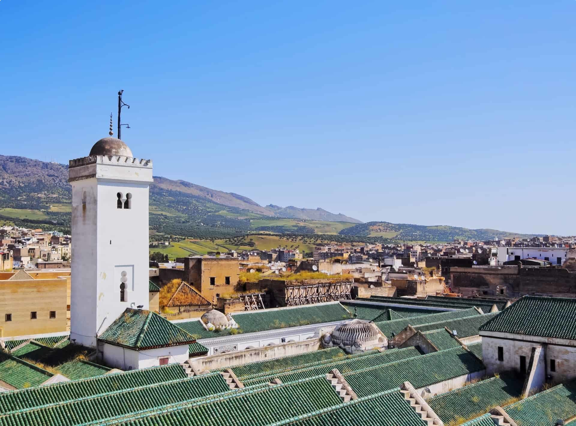 The eye-catching green roof of the Qarawiyyin Mosque in Fez