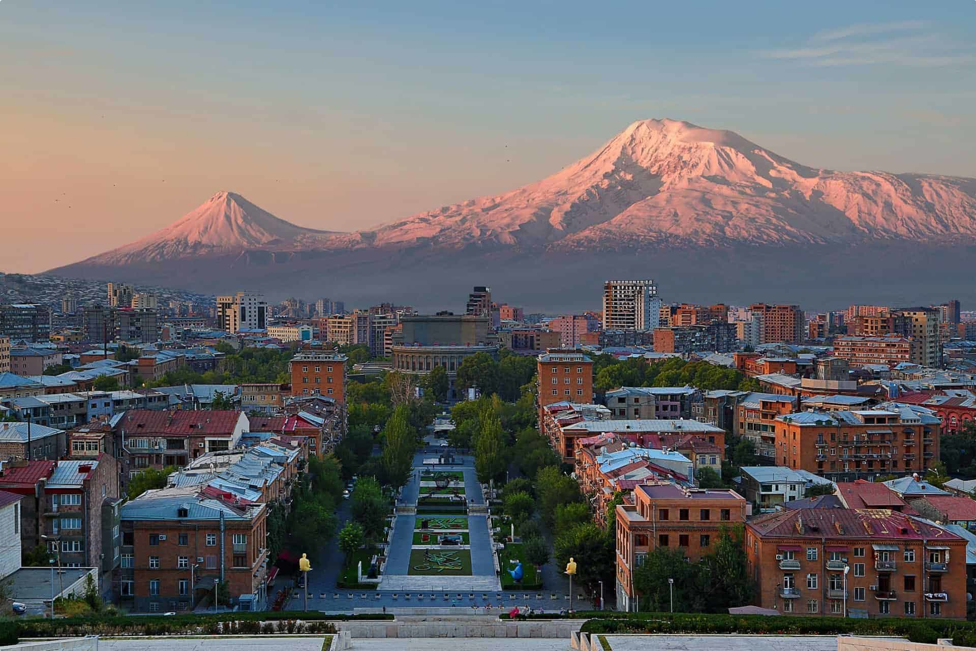 View over the city of Yerevan, capital of Armenia, with Mount Ararat in the background