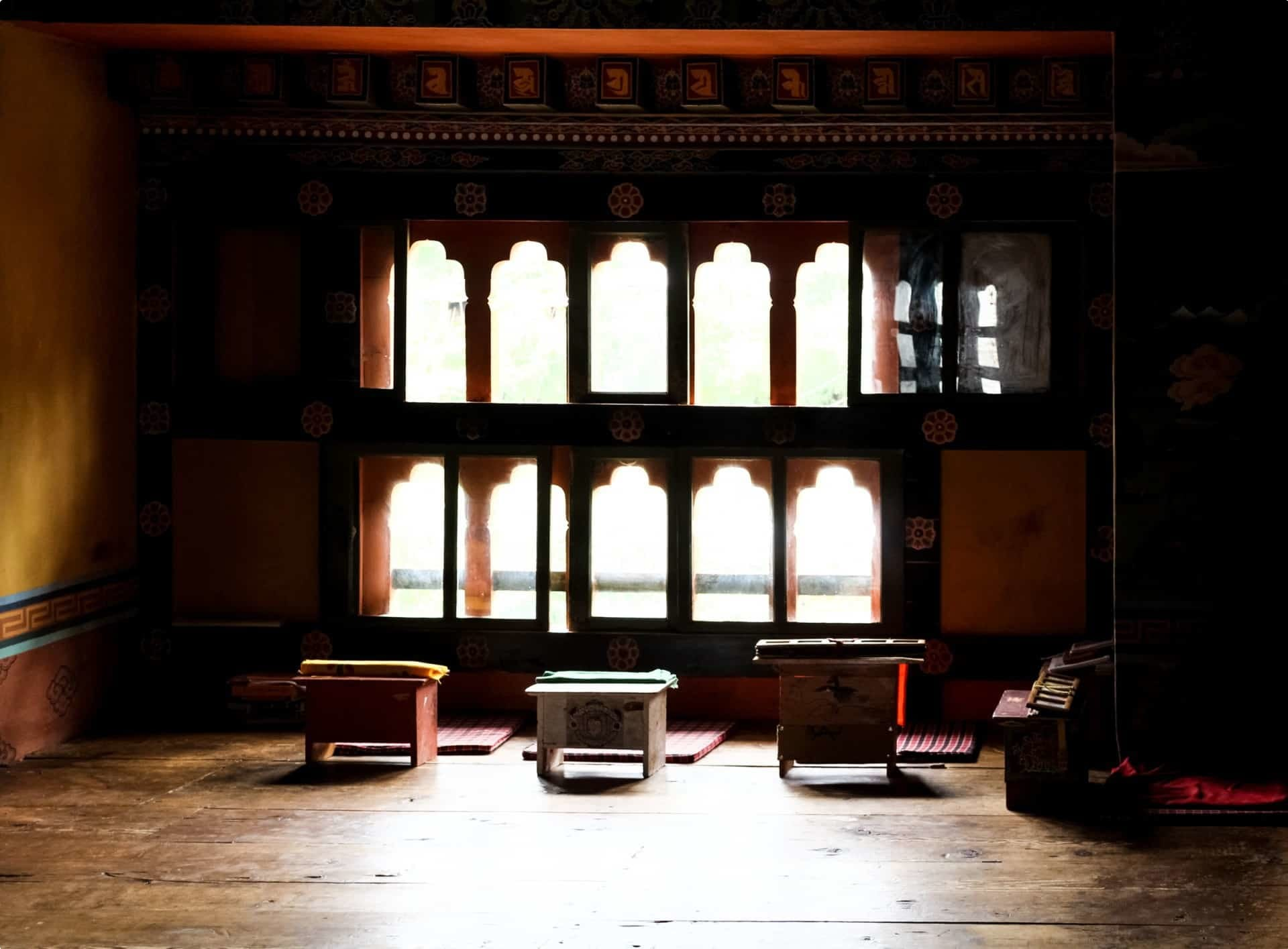 Room with Tibetan style desk in Chimi Lhakhang (Monastery of Fertility) in Bhutan