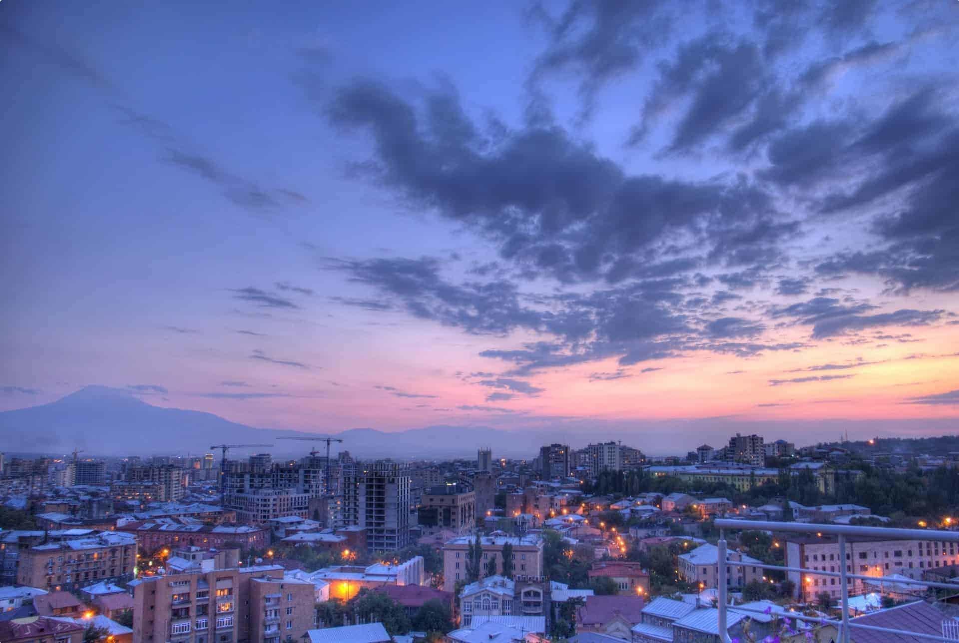 Dusk in Yerevan, Armenia