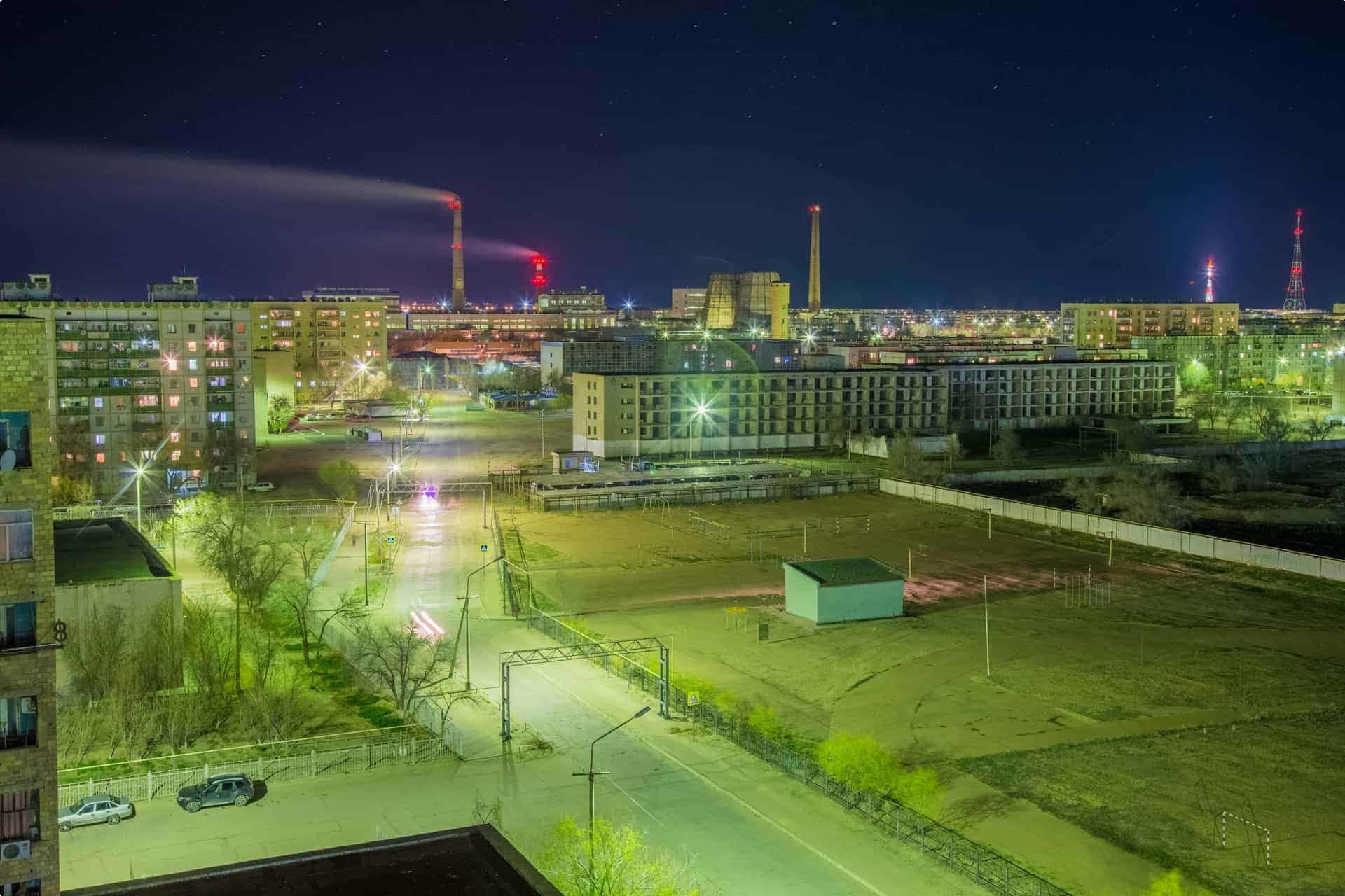 Aerial night cityscape of Baikonur, Kazakhstan