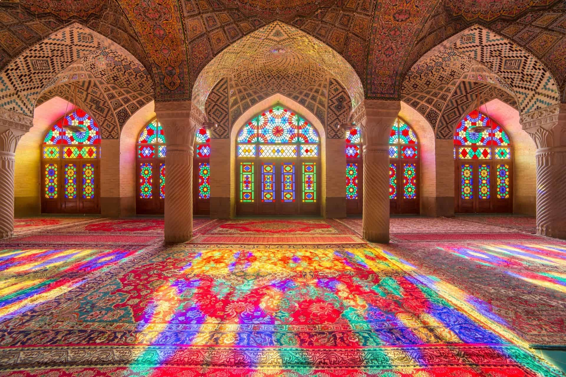 Inside the Pink Mosque in Shiraz, Iran