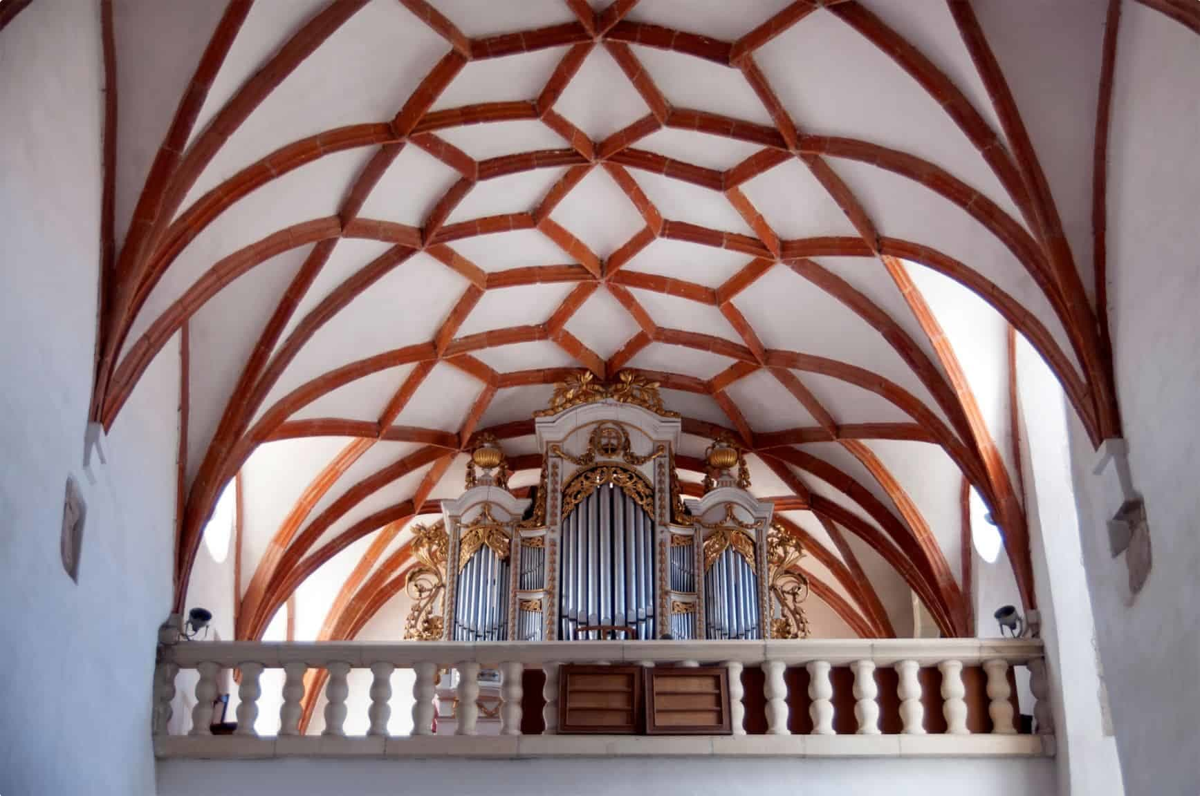 Organ and detail of the Gothic ceiling in fortified church of Prejmer, Transylvania, Romania