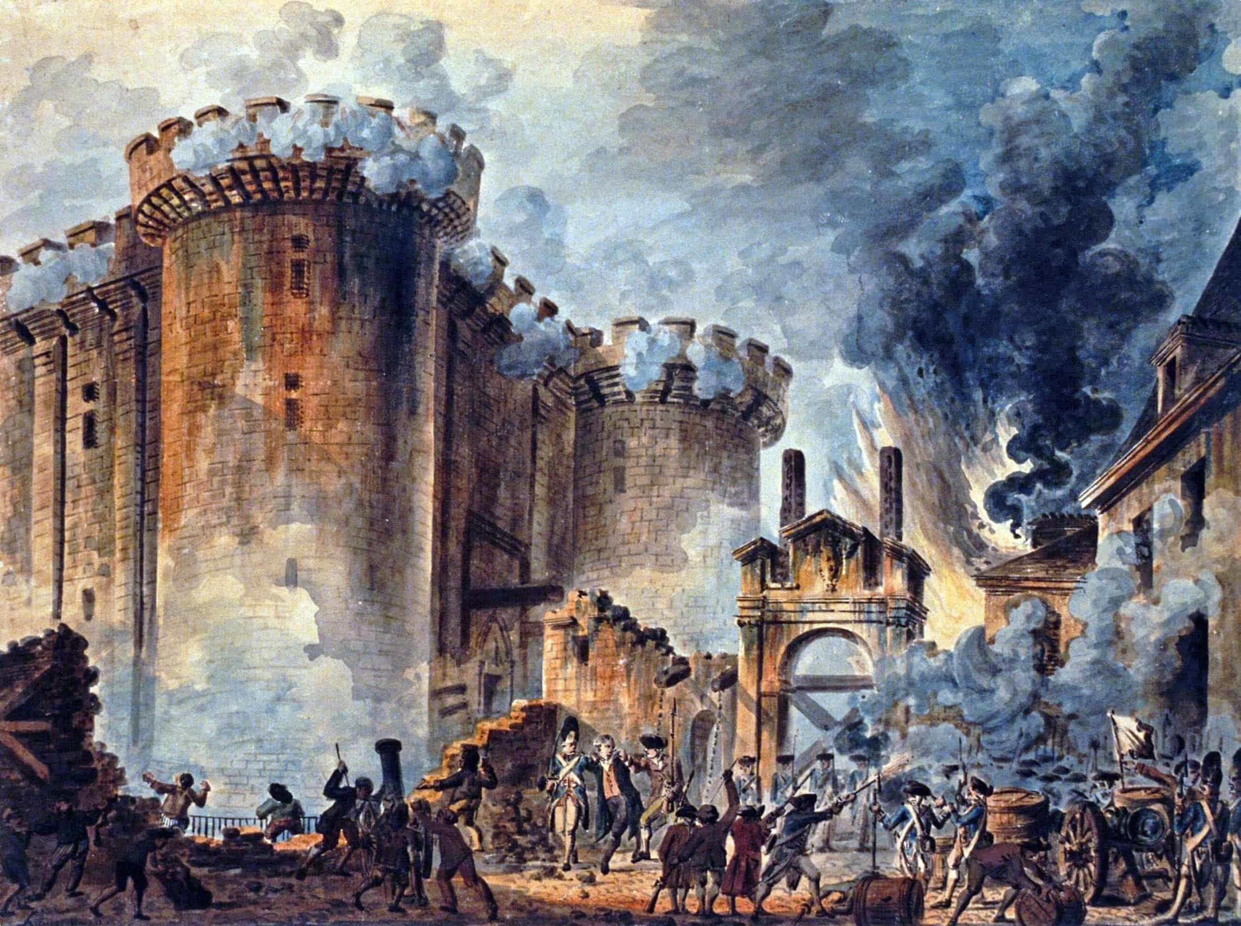 The Storming of the Bastille which took place in Paris, France on July 14, 1789.