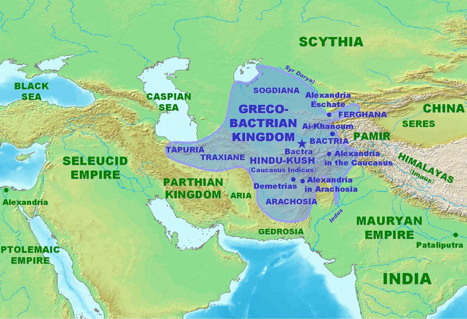 Greco-Bactrian Kingdom Map