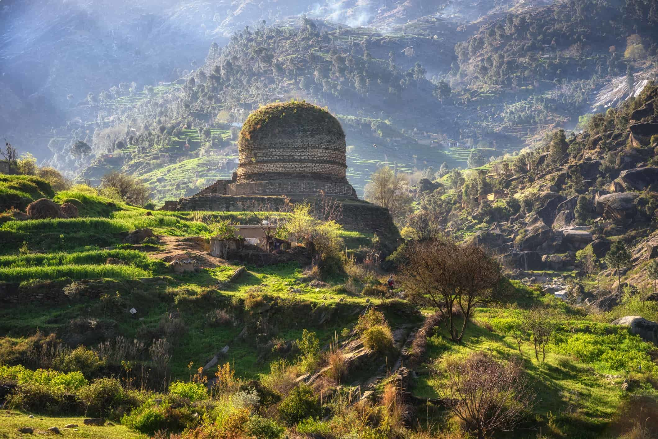 A Buddhist stupa in the Swat Valley Pakistan
