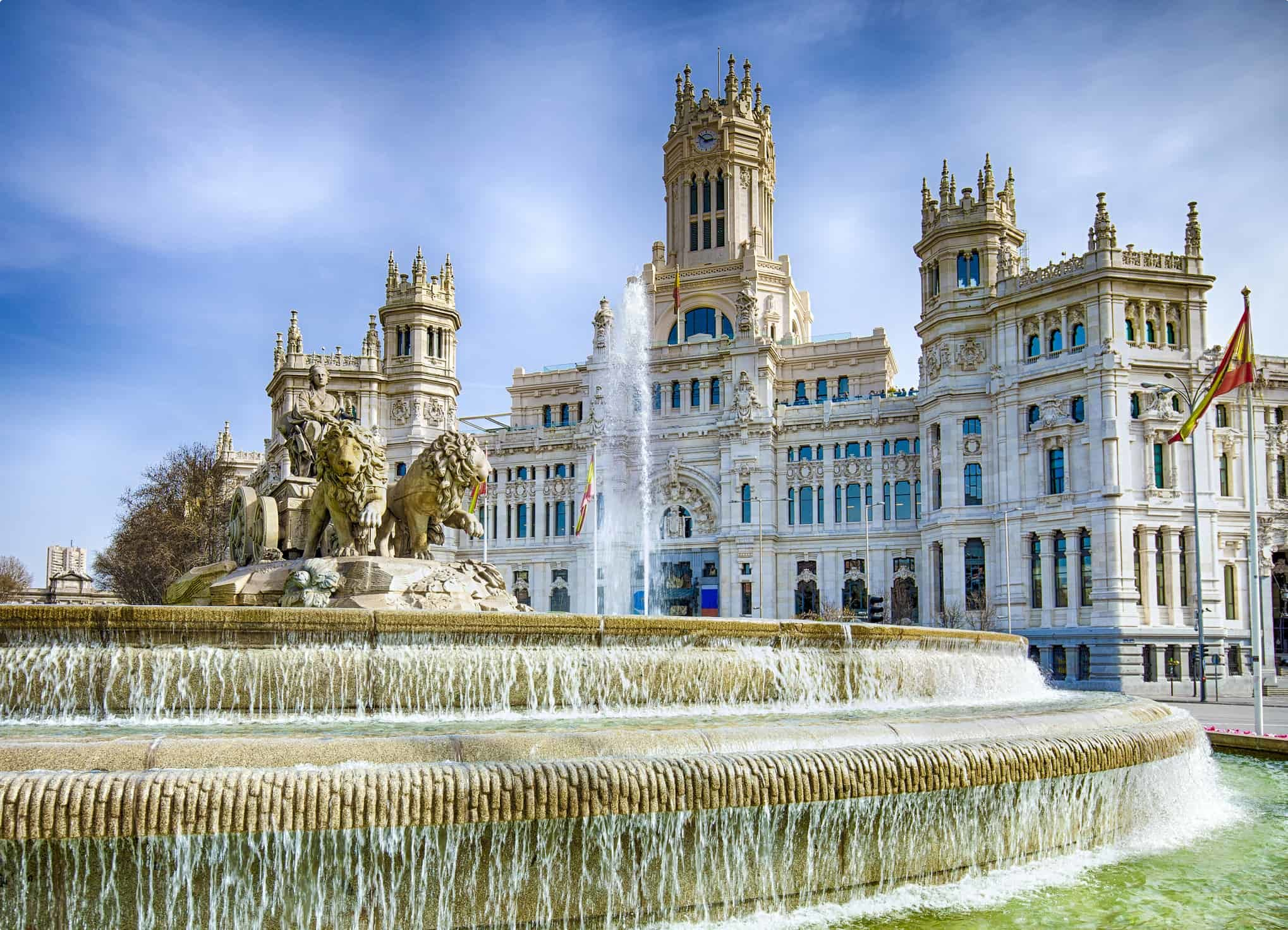 Cibeles Fountain In Downtown Madrid, Spain