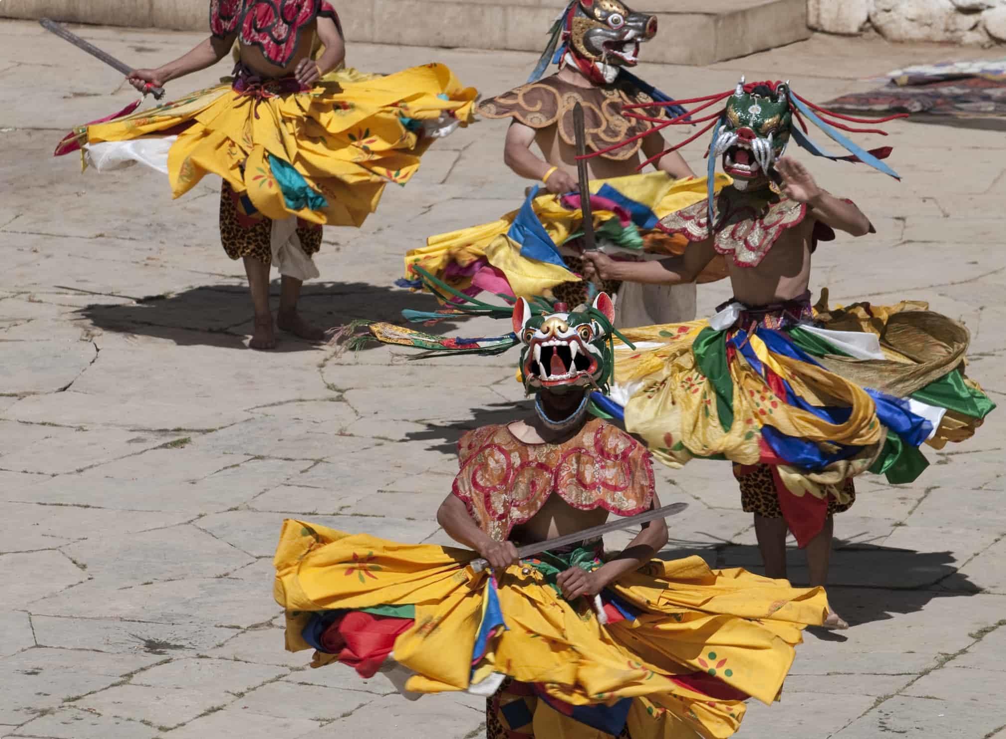 Costumed Dancers in Traditional Bhutan Festival
