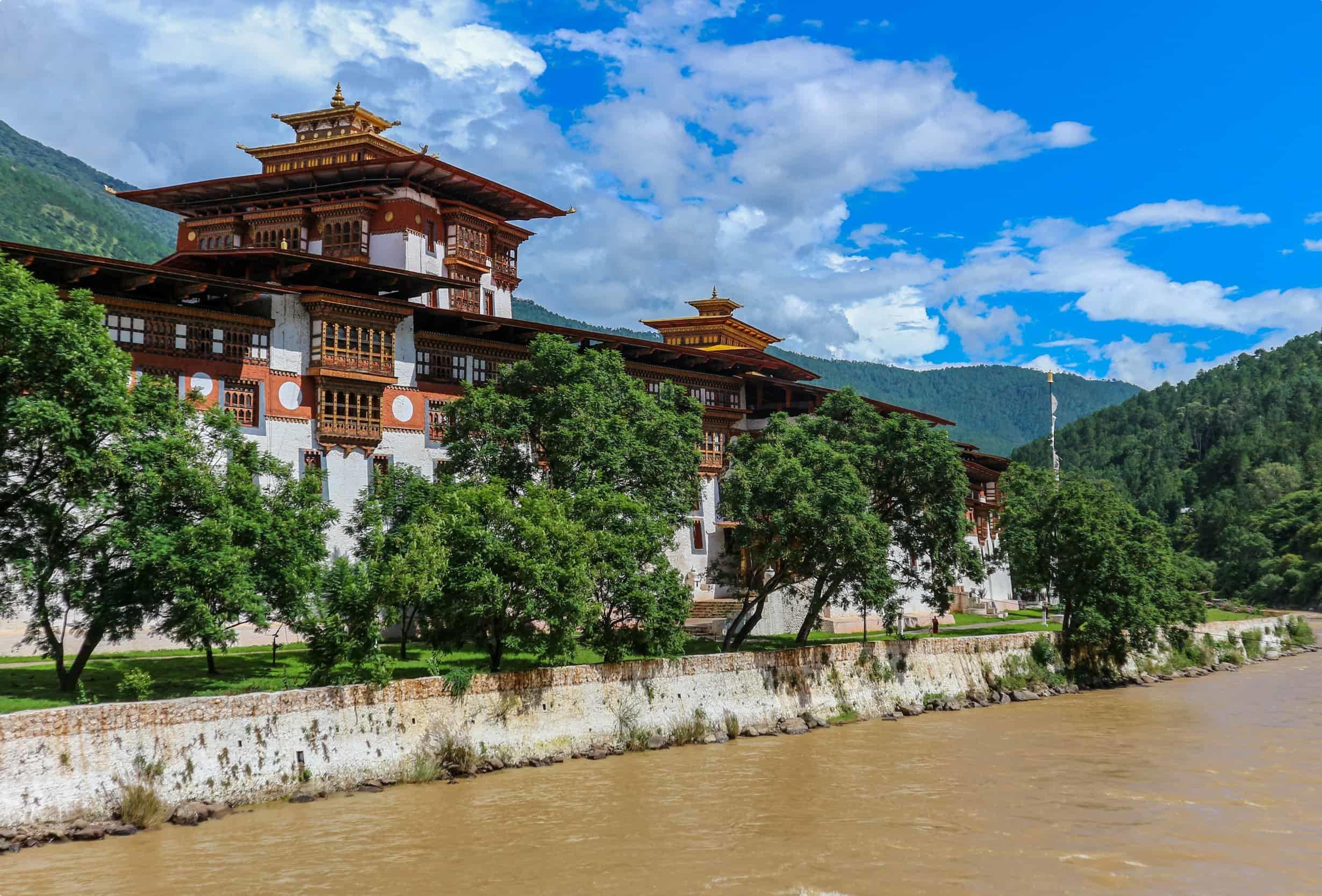 Punakha Dzong Temple (Pungthang Dechen Phodrang Dzong - Palace of Great Happiness), Bhutan. Punakha Dzong located on the river bank of ancient capital of Bhutan