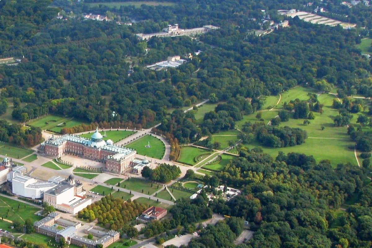 An aerial view of Sanssouci from which you can see Neues Palais