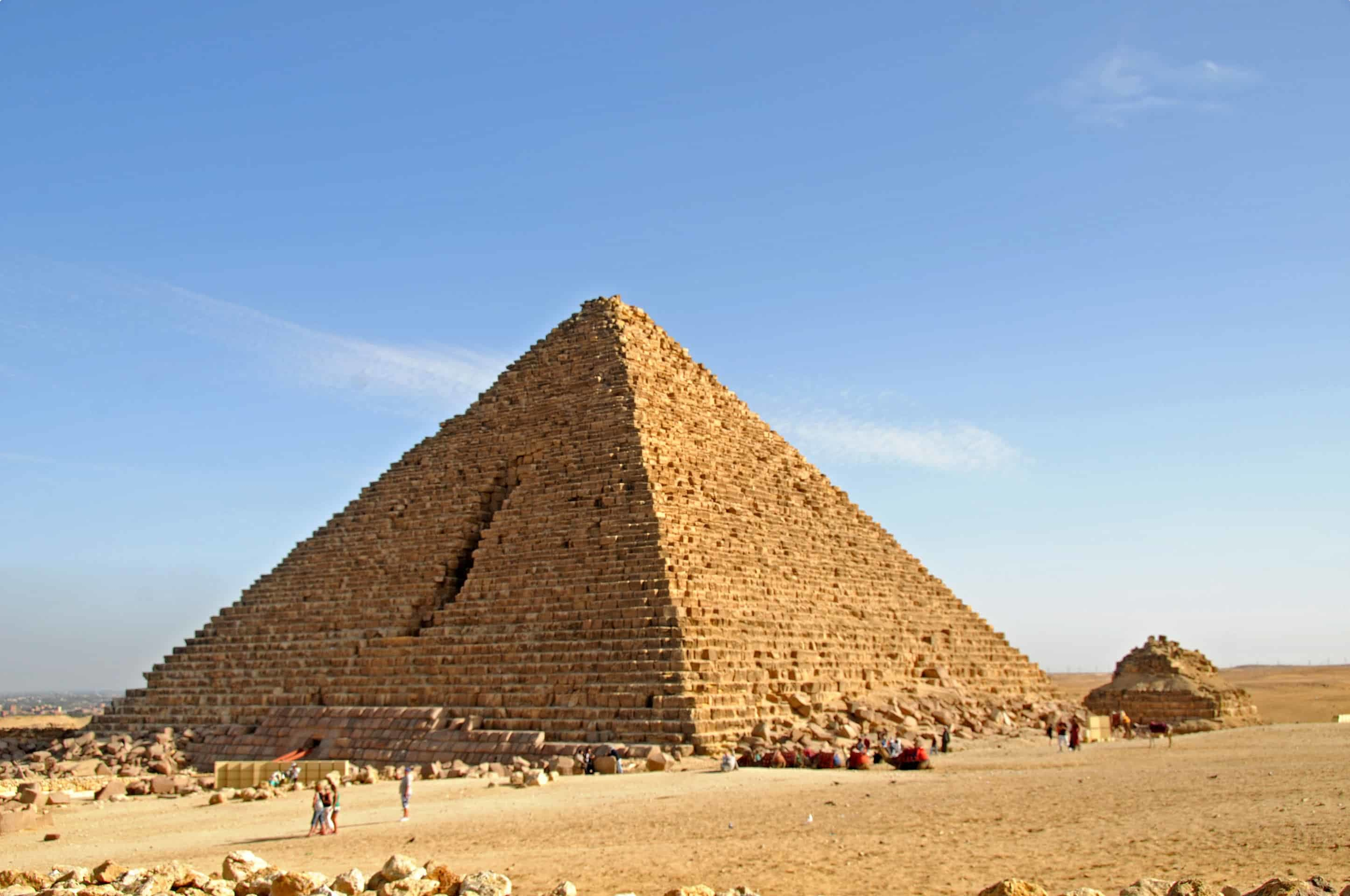 Pyramid of Menkaure, the smallest of the three pyramids