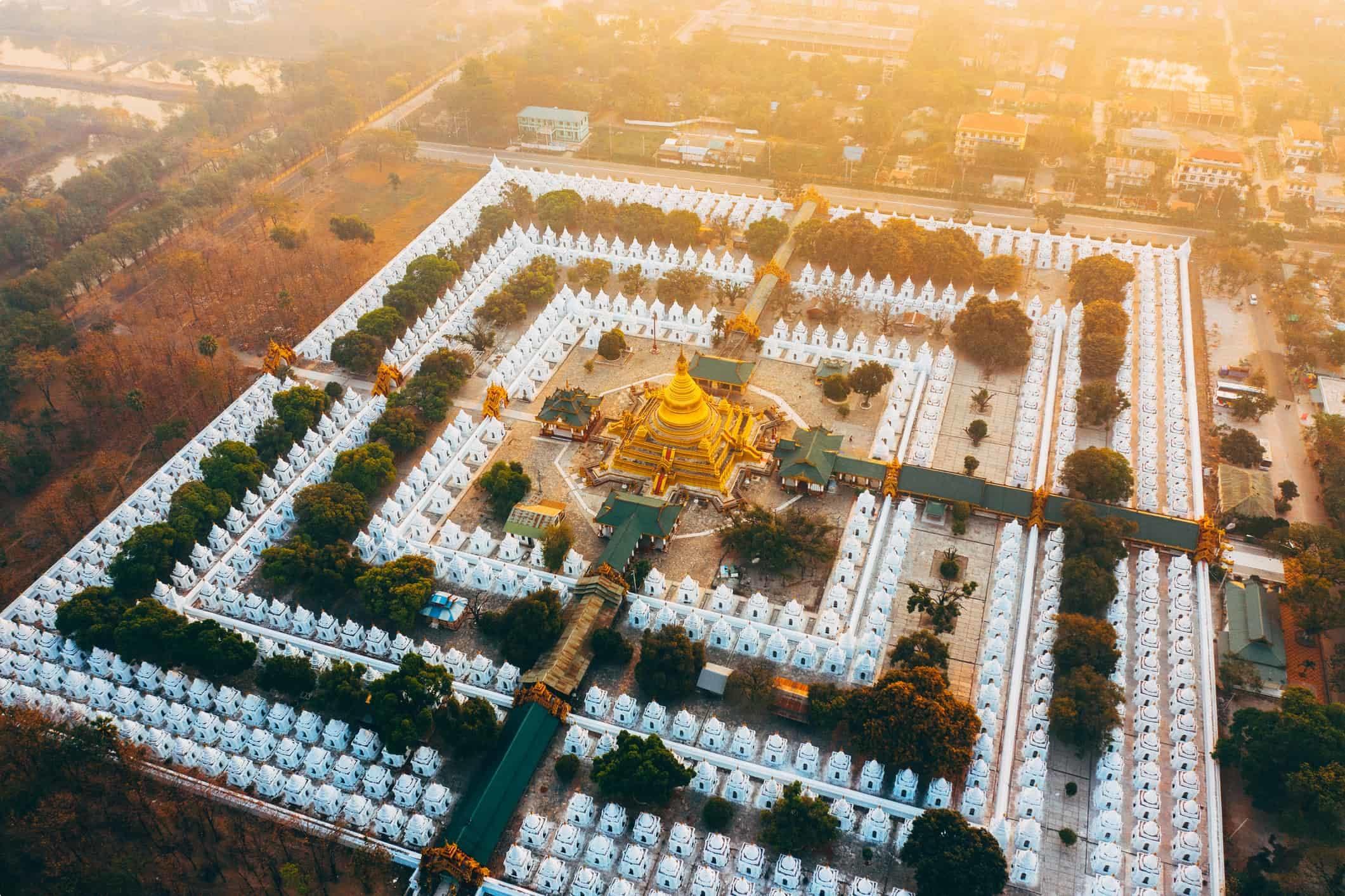 Scenic aerial view of Sandamuni Pagoda at sunrise