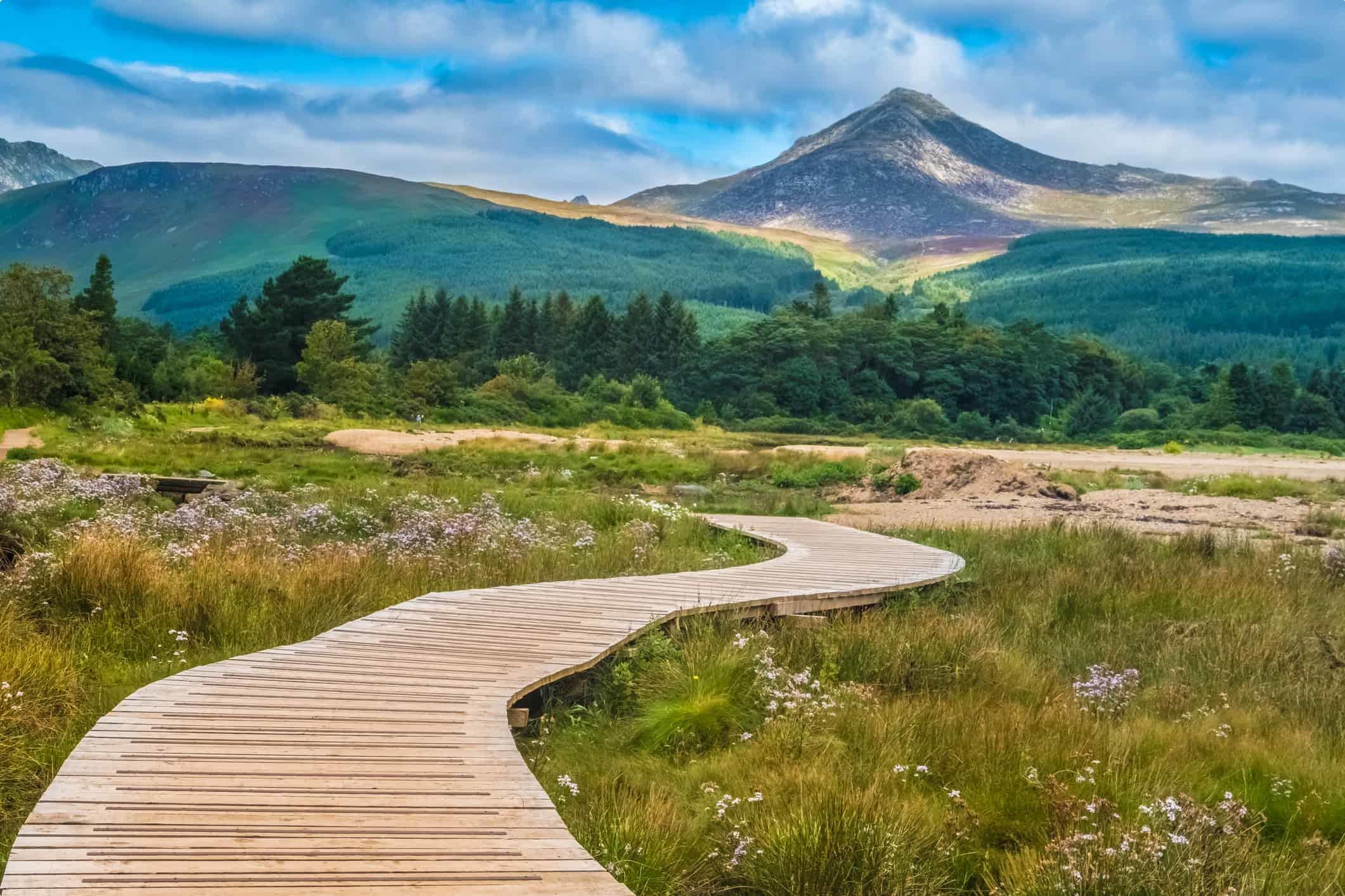"View of the Goat Fell Mountain, Brodick (Tràigh a' Chaisteil, ""Castle Beach"", Breadhaig) the main town on the Isle of Arran in the Firth of Clyde, Scotland."