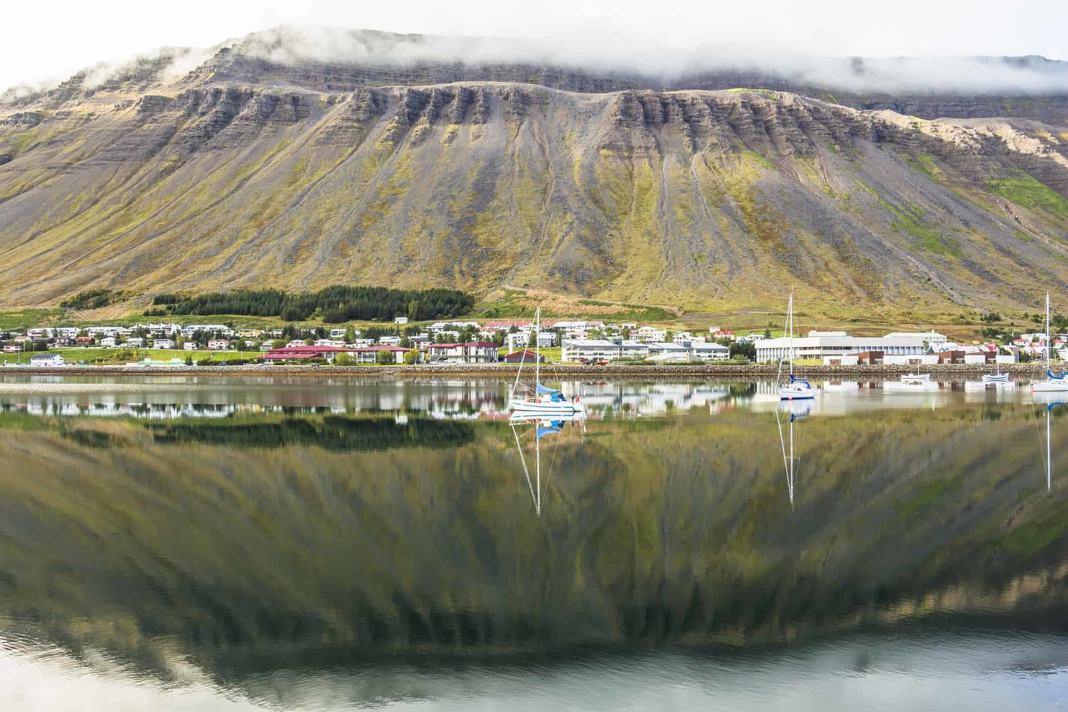 Fjord reflection on the water at Isafjordur, Iceland