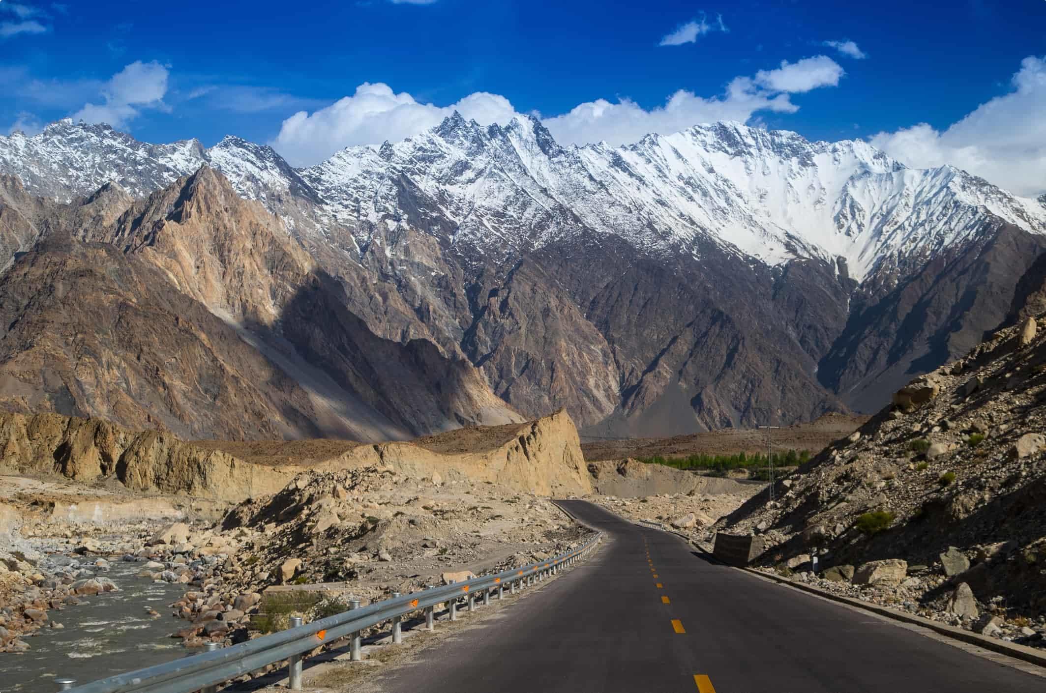 Karakoram Highway with mountain in background