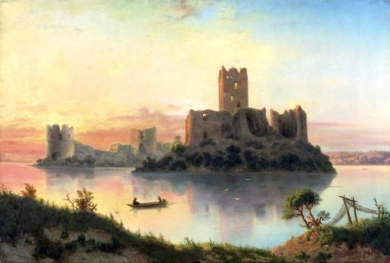 The ruins of the Trakai Castle at sunset., a painting from 1866 by Józef Marszewski