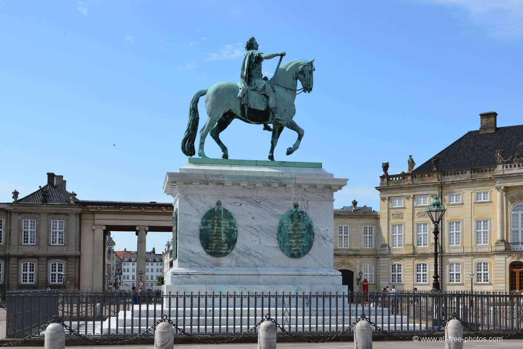 Statue of King Frederick V at Amalienborg Palace